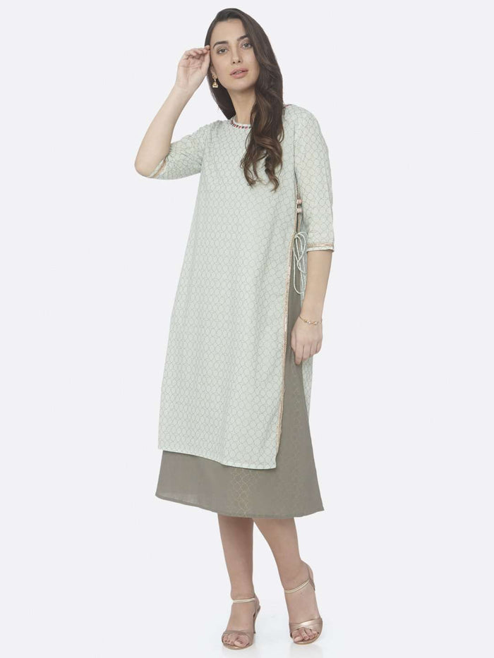 Casual Wear Green Embellished Cotton A-Line Dress