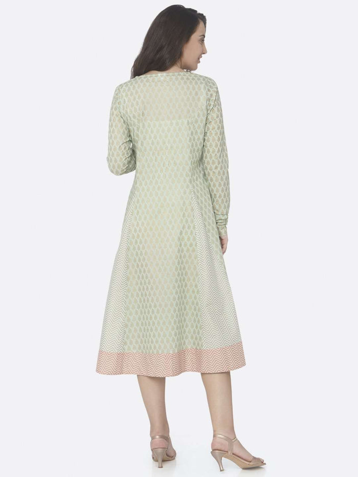 Green Printed Cotton A -Line Dress
