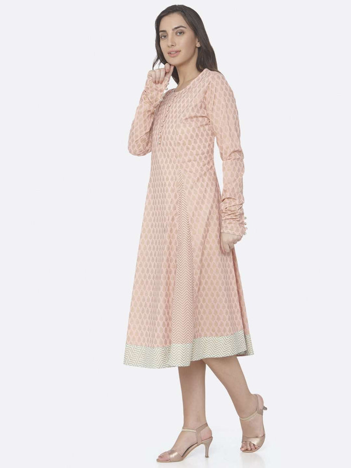 Left Side Pink Printed Cotton A -Line Dress