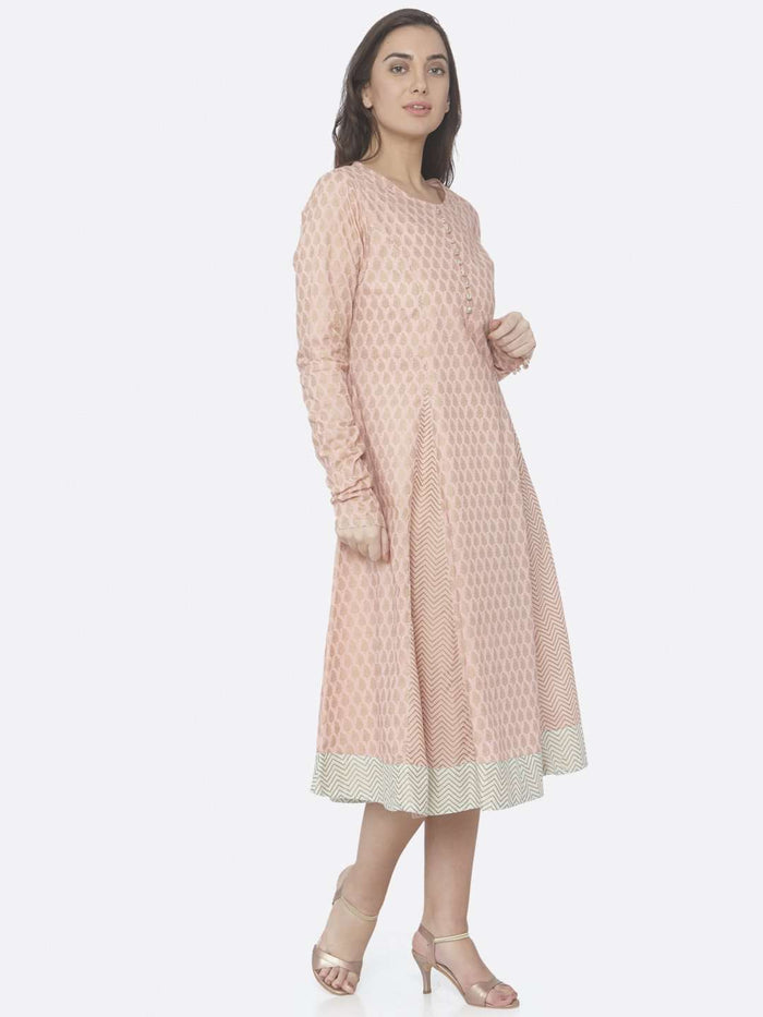 Right Side Pink Printed Cotton A -Line Dress