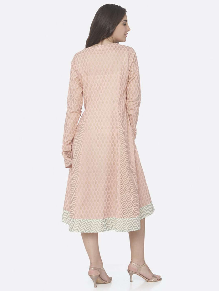 Back Side Pink Printed Cotton A -Line Dress