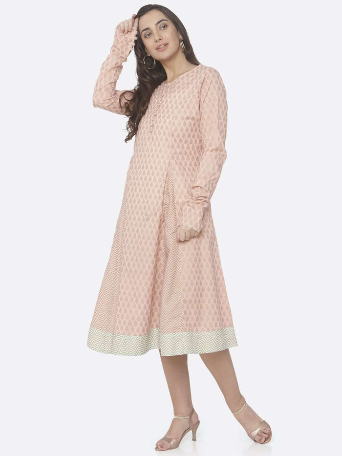 Left Side Printed Cotton A-Line Dress With Pink Color