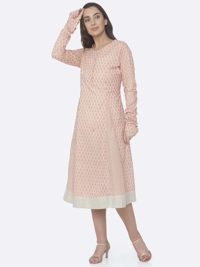 Front Side Pink Printed Cotton A -Line Dress