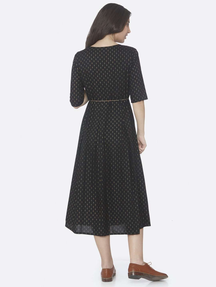 Black Printed Cotton Printed A-Line Dress