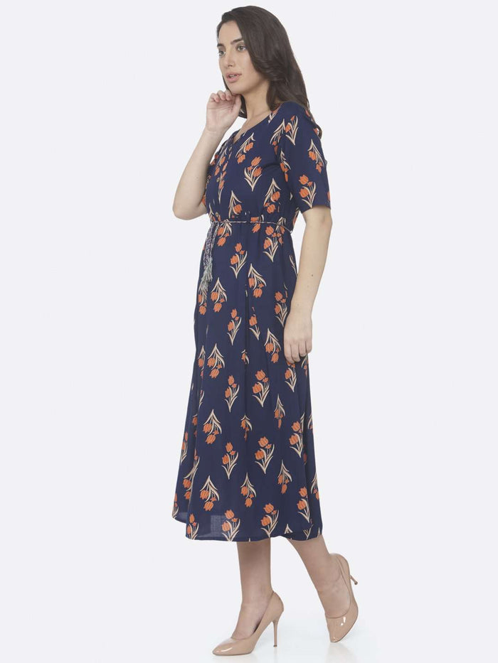 Left Side Blue Printed Cotton A -Line Dress