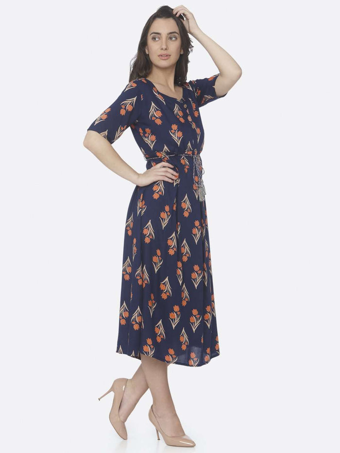 Right Side Blue Printed Cotton A -Line Dress