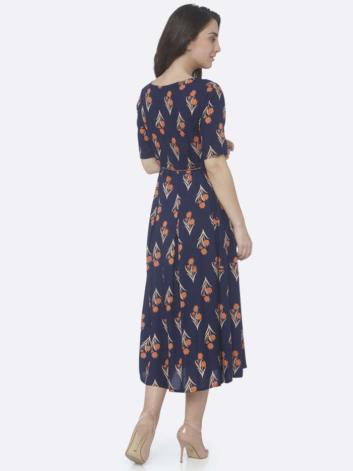 Back Side Blue Printed Cotton A -Line Dress