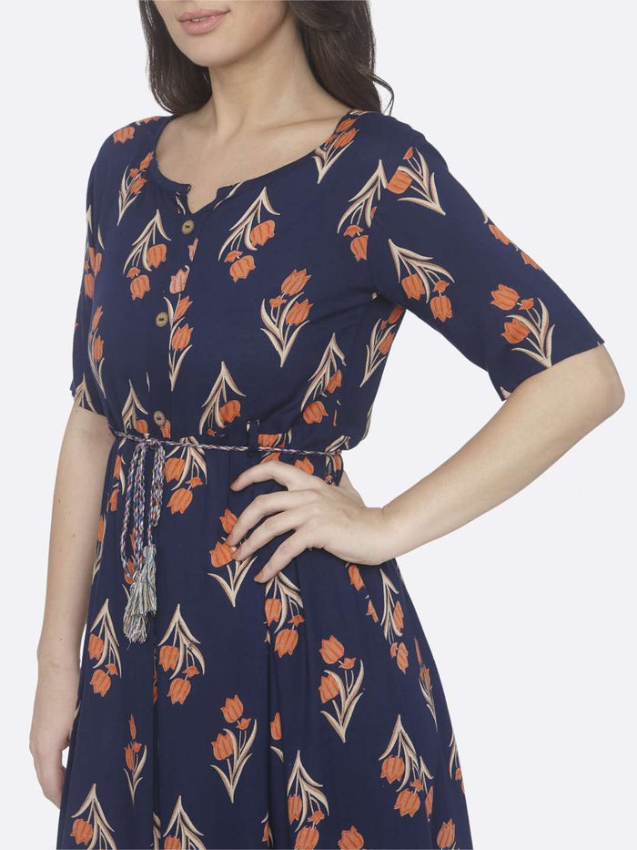 Left Side Printed Cotton A-Line Dress With Blue Color