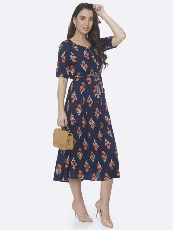 Right Side Printed Cotton A-Line Dress With Blue Color