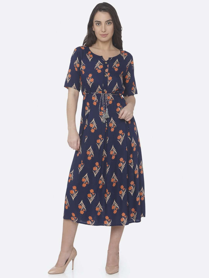Front Side Blue Printed Cotton A -Line Dress