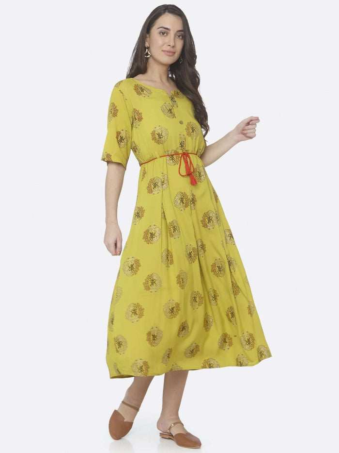Right Side Printed Cotton A-Line Dress With Lemon Color