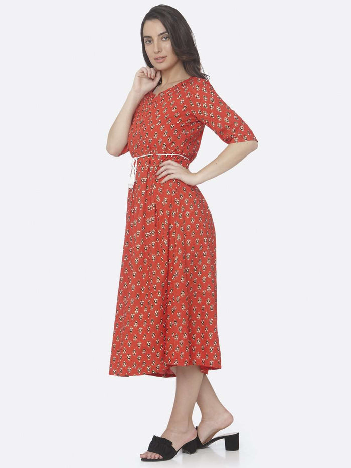 Red Printed Cotton A -Line Dress