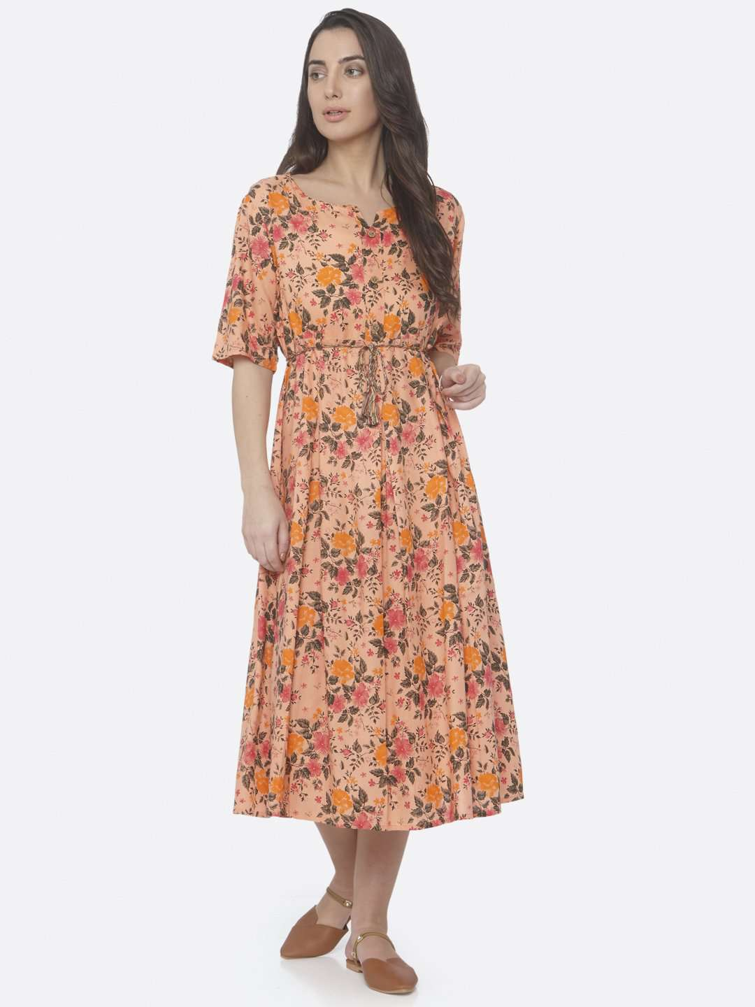 Front Side Peach Printed Cotton A -Line Dress