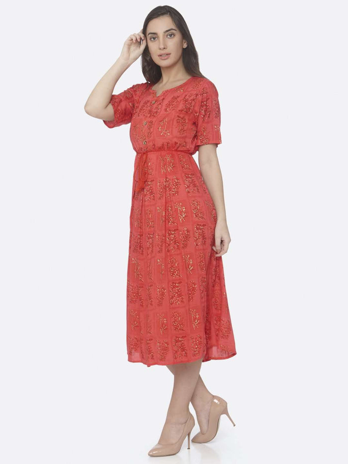 Left Side Red Printed Cotton A -Line Dress
