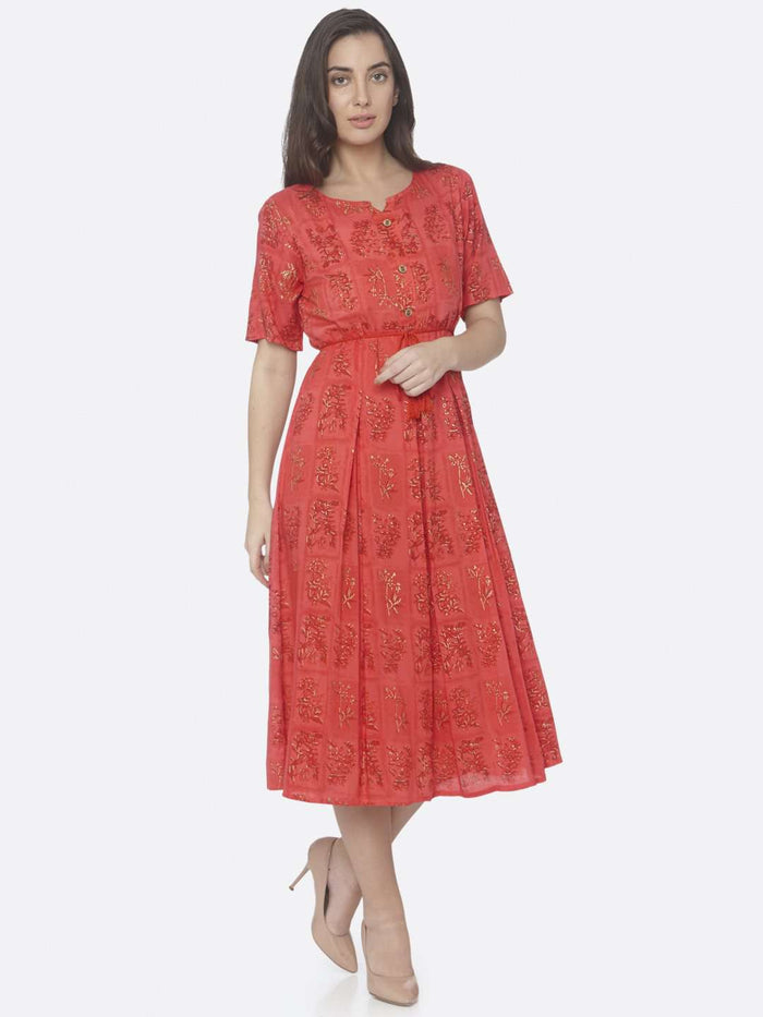Right Side Red Printed Cotton A -Line Dress