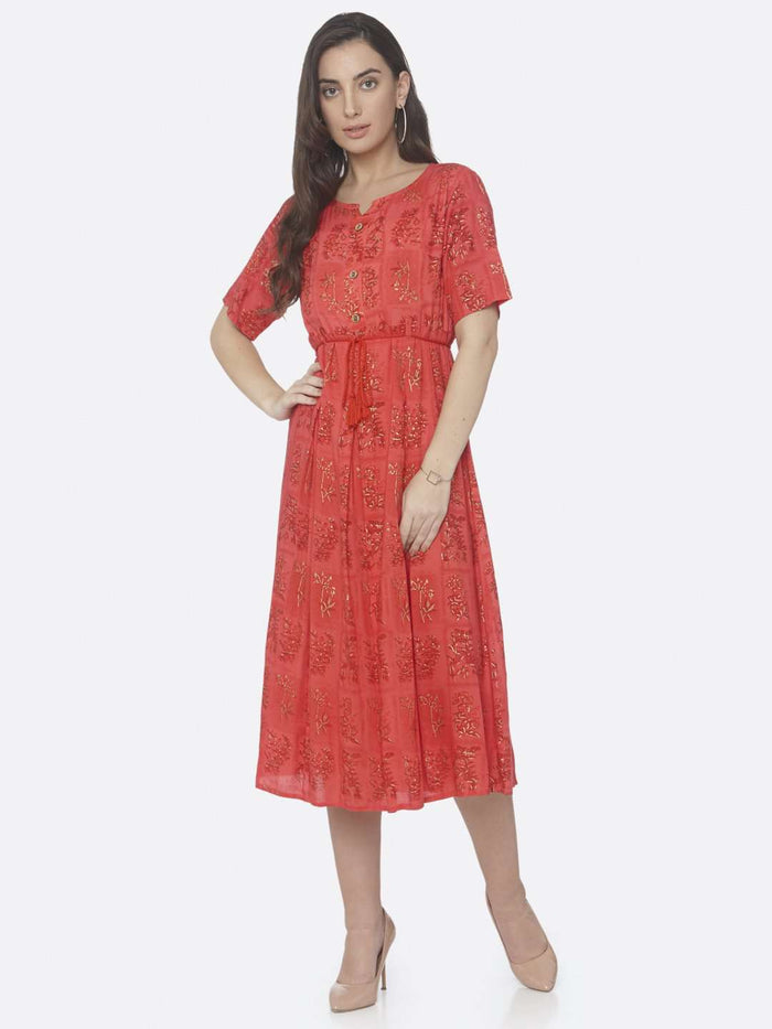 Front Side Red Printed Cotton A -Line Dress