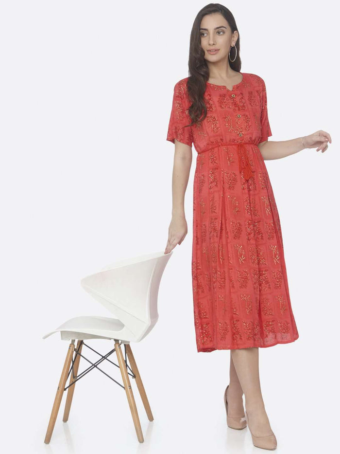 Casual Red Printed Cotton A -Line Dress