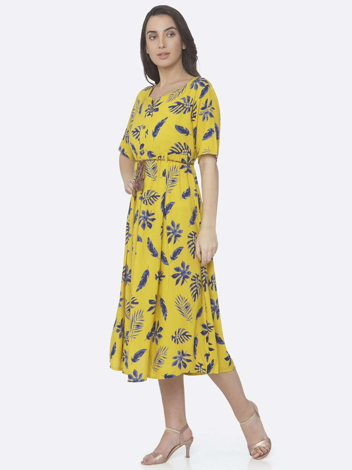 Left Side Lemon Yellow Printed Cotton A -Line Dress