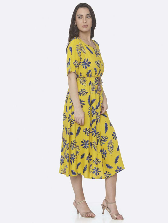 Right Side Lemon Yellow Printed Cotton A -Line Dress