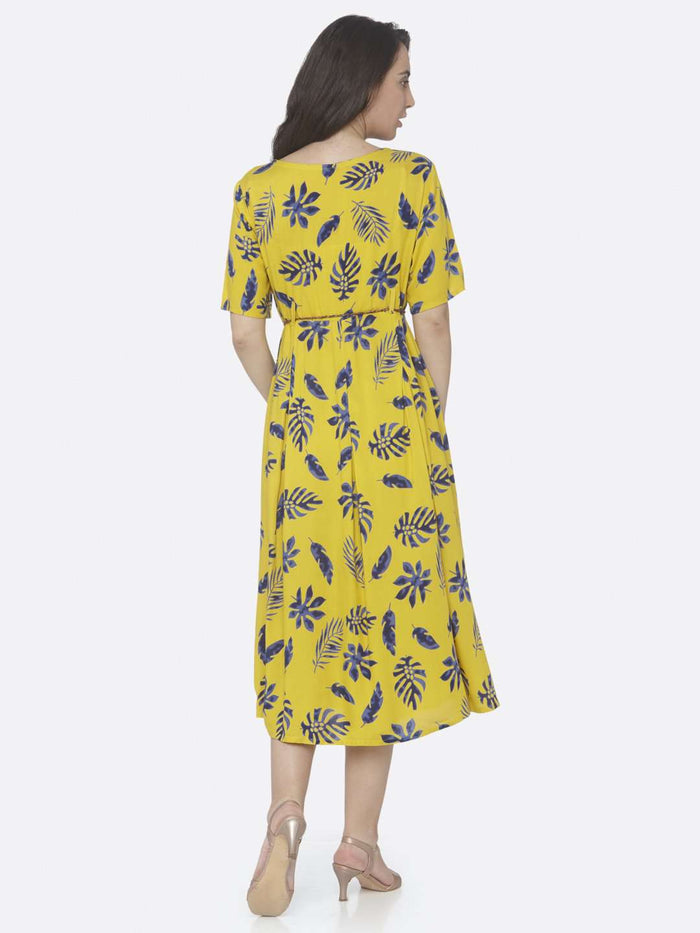 Back Side Lemon Yellow Printed Cotton A -Line Dress