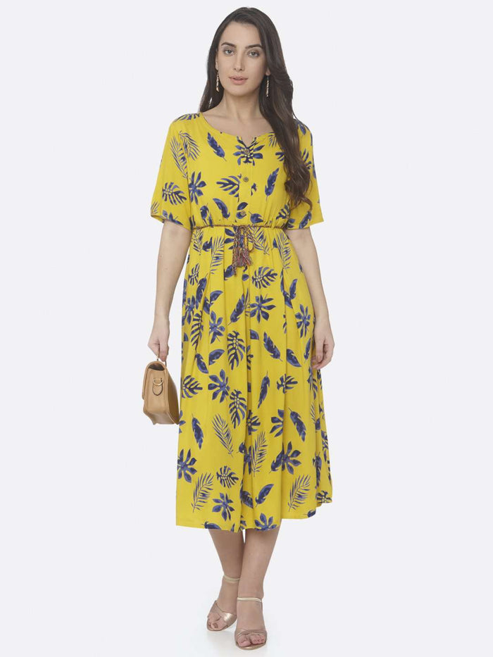 Front Side Printed Cotton A-Line Dress With Lemon Yellow Color
