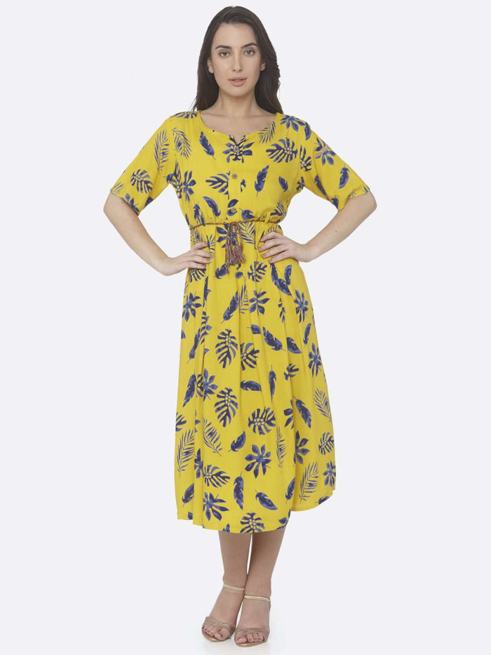 Front Side Lemon Yellow Printed Cotton A -Line Dress
