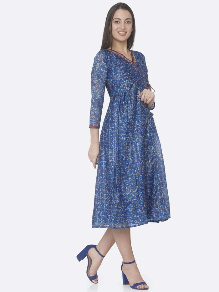 Right Side Blue Printed Chanderi A-Line Dress