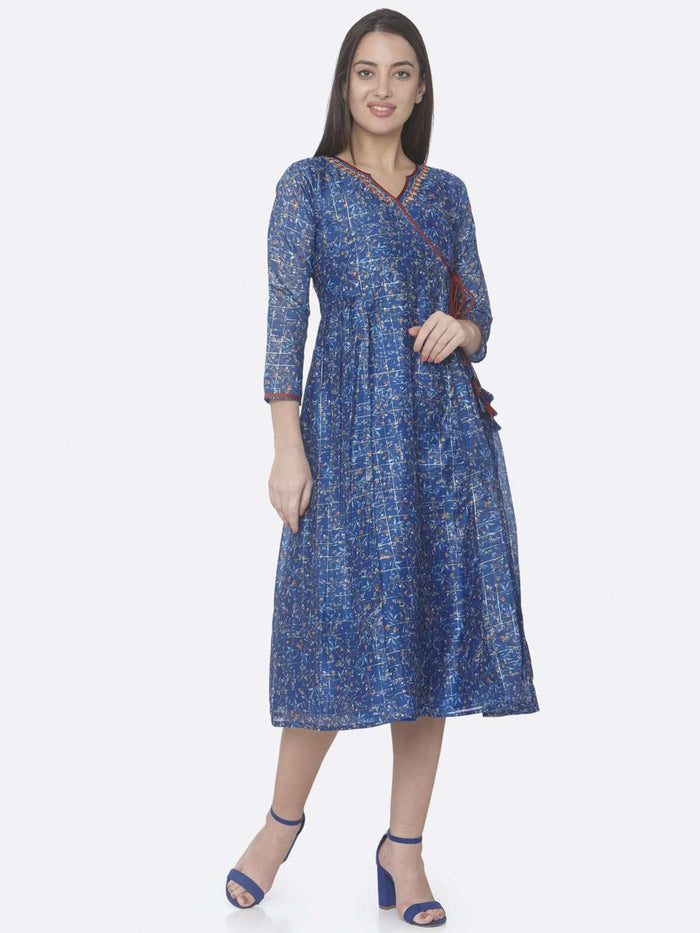 Front Side Blue Printed Chanderi A-Line Dress