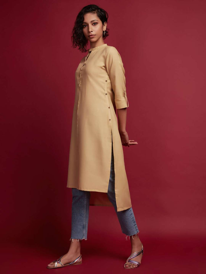 Front Side Beige Plain Rayon Slub Kurti With Jeans Pant