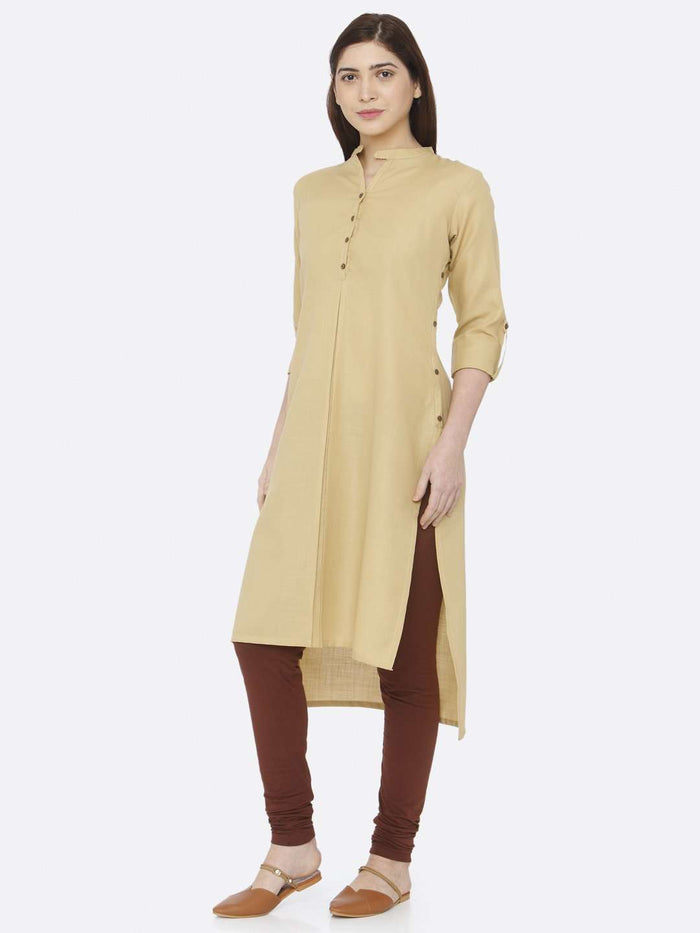 Left Side Beige Plain Rayon Slub Kurti With Brown Palazzo Pant