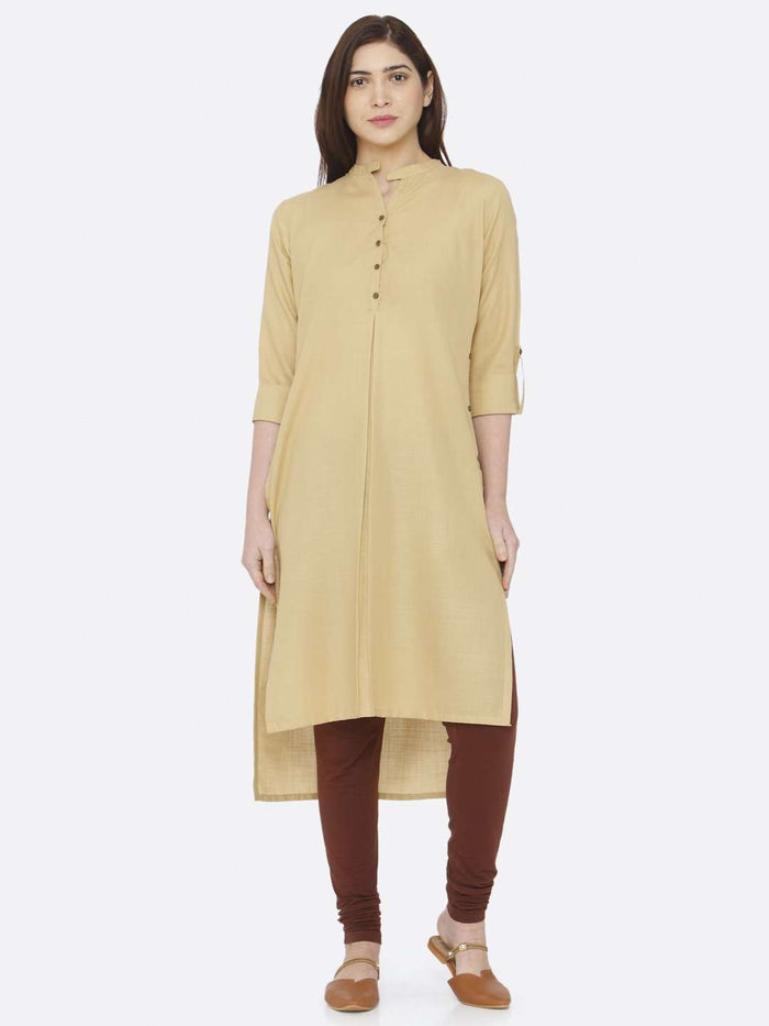 Front Side Beige Plain Rayon Slub Kurti With Brown Palazzo Pant