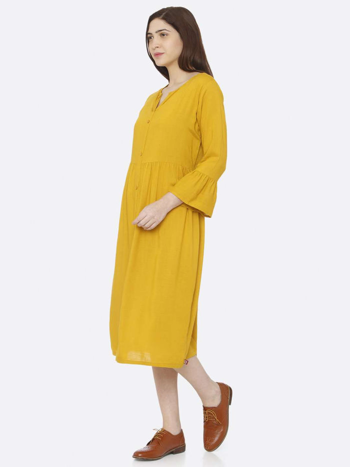 Left Side Mustard Plain Rayon Slub Dress