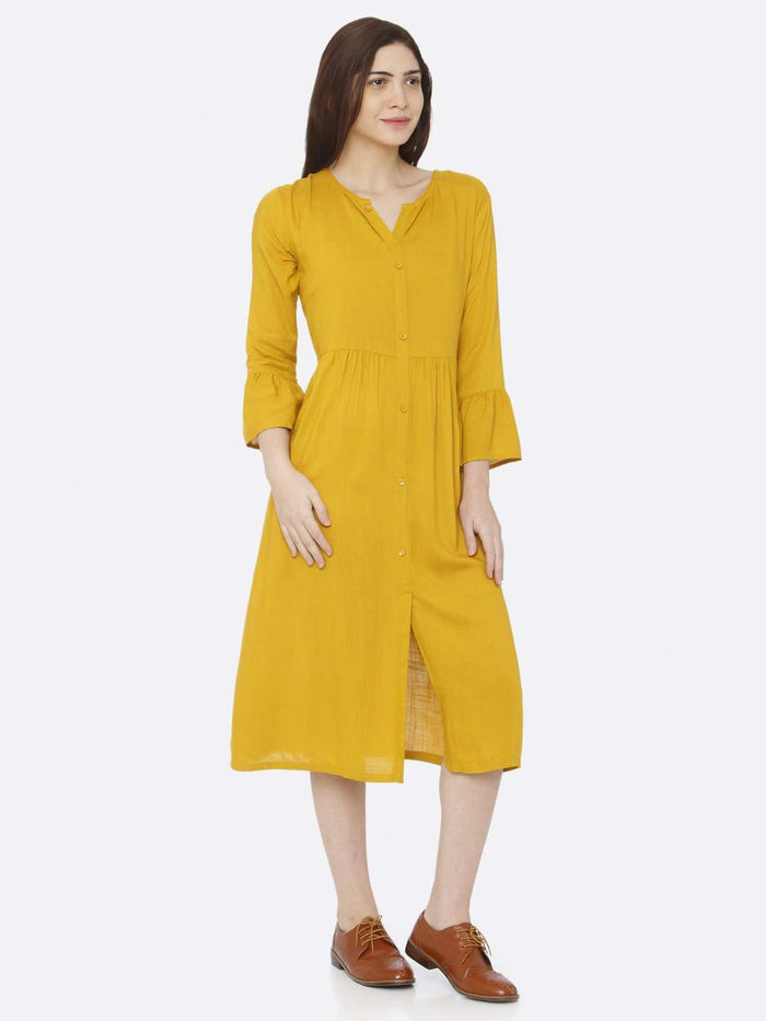 Front Side Plain Rayon Slub Dress With Mustard Color