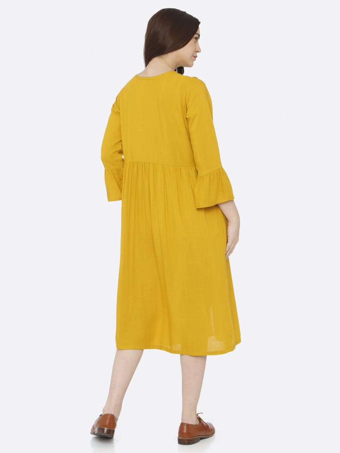 Back Side Mustard Plain Rayon Slub Dress