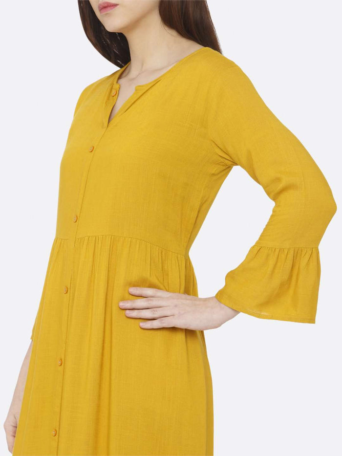 Left Side Plain Rayon Slub Dress With Mustard Color