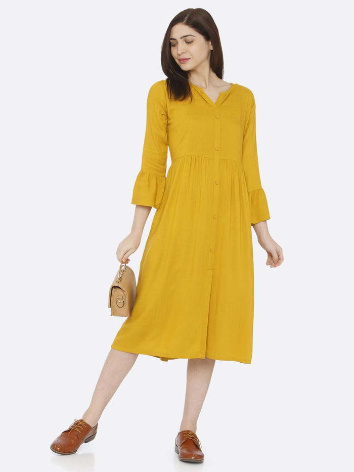 Causal Mustard Plain Rayon Slub Dress