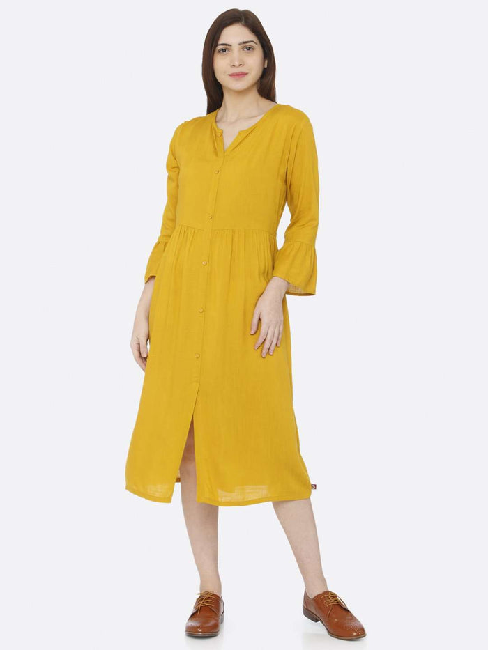 Front Side Mustard Plain Rayon Slub Dress