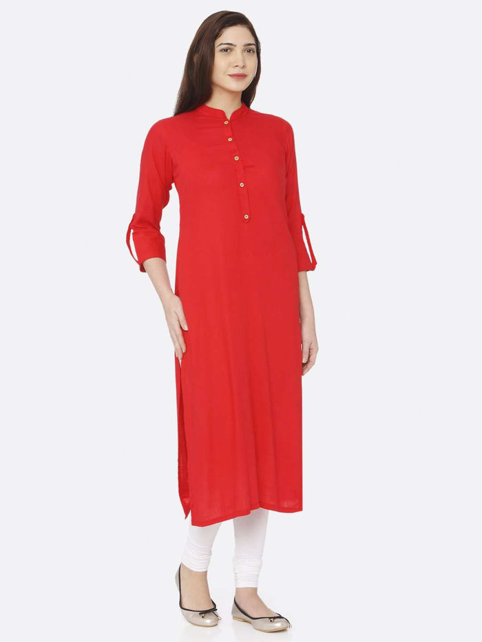 Right Side Plain Rayon Slub Kurti With Pink Color