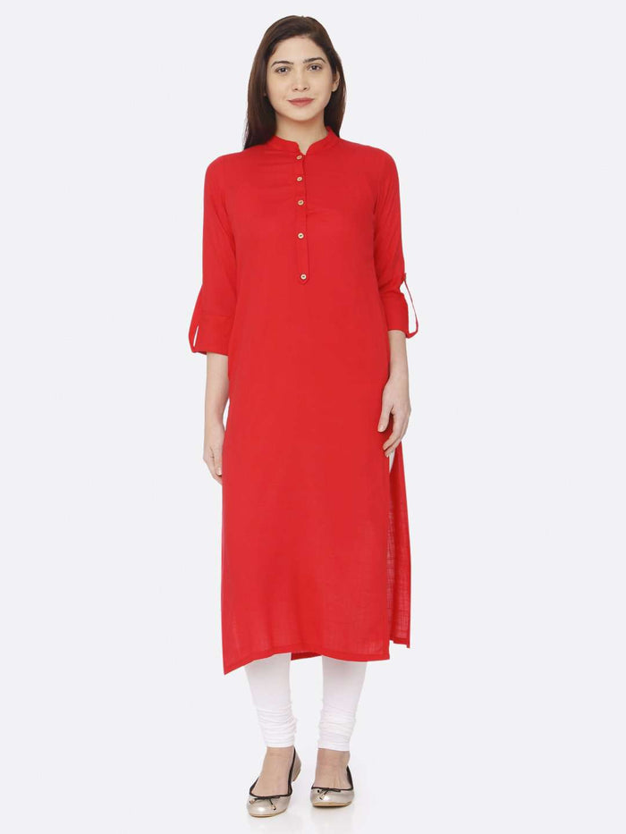 Front Side Pain Rayon Slub Kurti With Pink Color