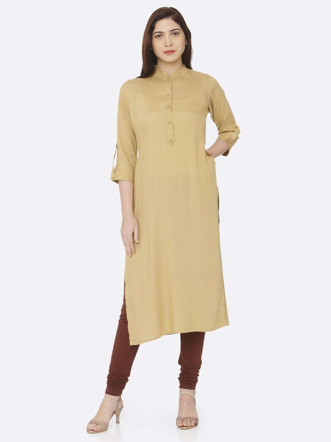 Front Side Cream Plain Rayon Slub Kurti With Brown Palazzo Pant