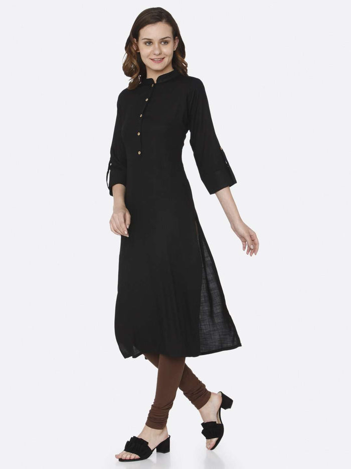 Front Side Black Plain Cotton Slub Kurti With Stylish Pose