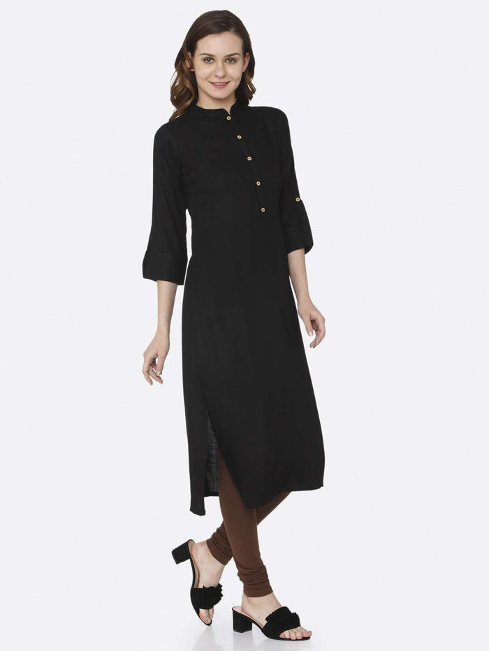 Front Side Casual Black Plain Cotton Slub Kurti With Brown Color