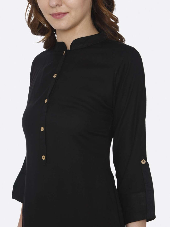 Front Side Black Plain Cotton Slub Kurti