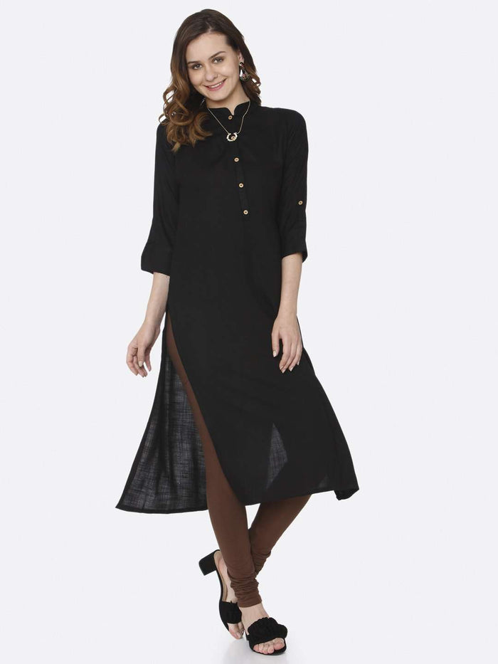 Front Side Plain Cotton Slub Kurti With Black Color