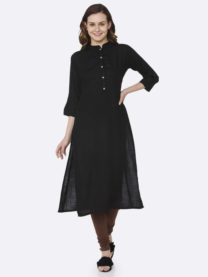 Full Front Side Black Plain Cotton Slub Kurti With Brown Palazzo Pant
