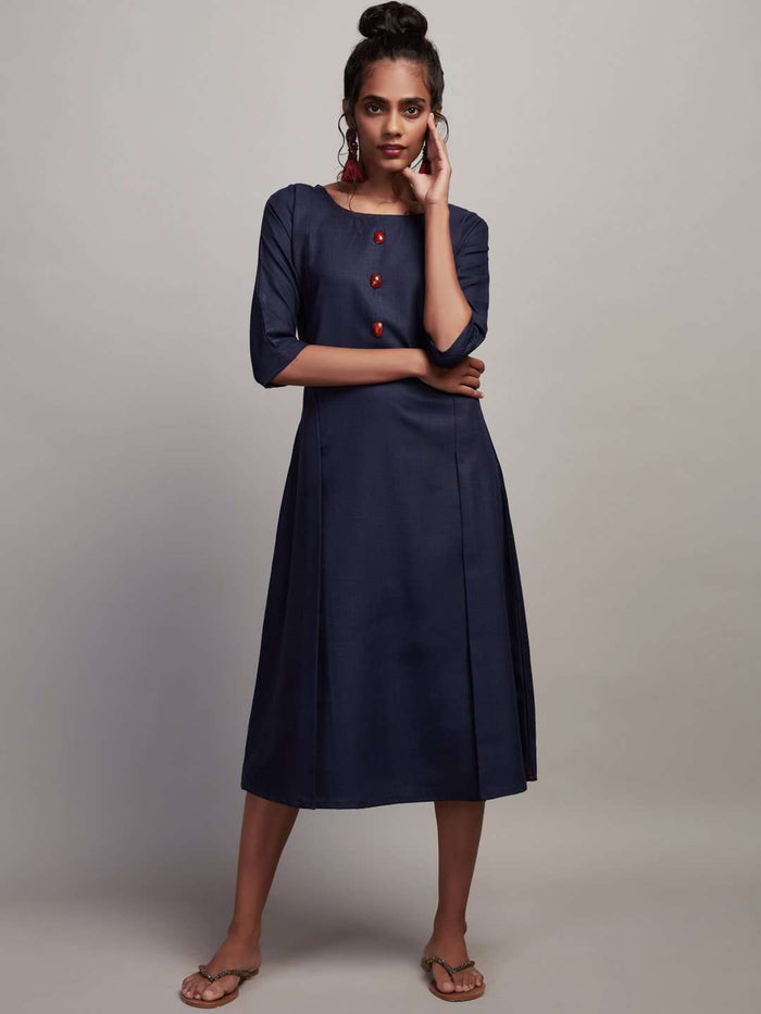 Front Side Navy Blue Plain Cotton Slub Dress