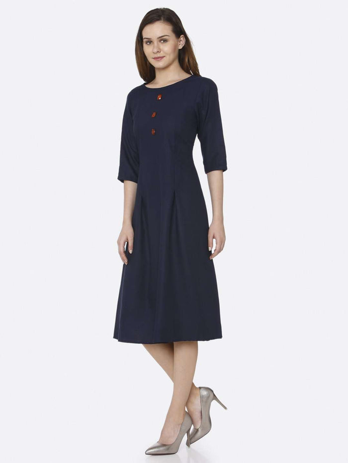 Left Side Navy Blue Plain Cotton Slub Dress