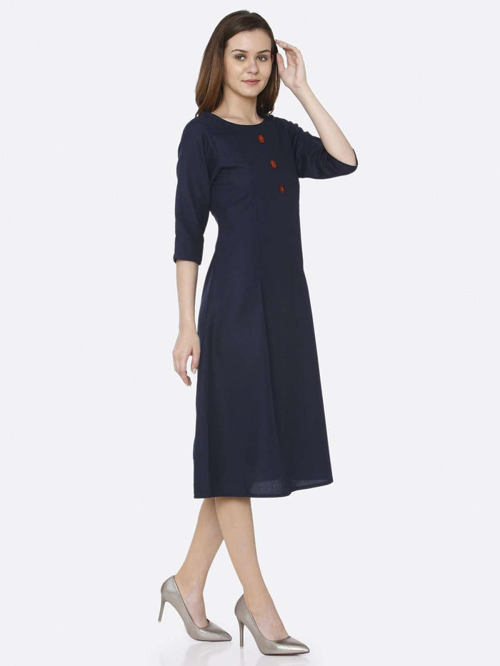Right Side Navy Blue Plain Cotton Slub Dress