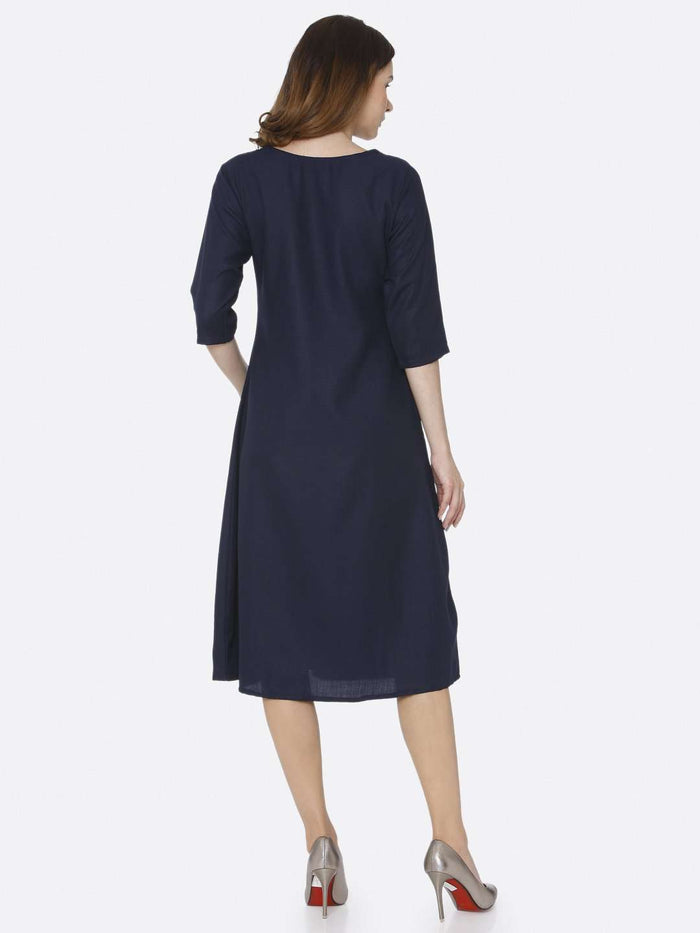 Back Side Navy Blue Plain Cotton Slub Dress