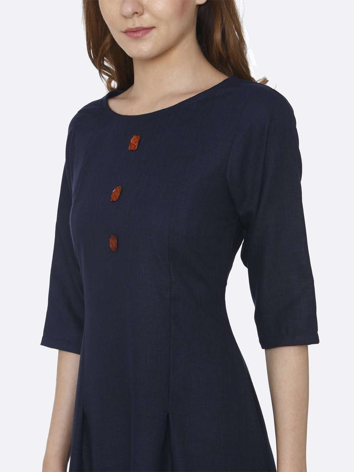 Left Side Plain Cotton Slub Dress With Navy Blue Color